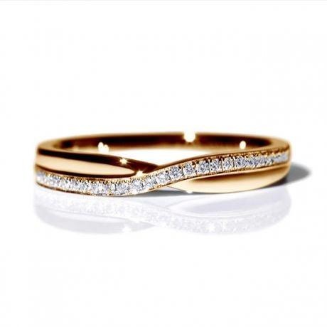Fede Nuziale Golden River - Oro Rosa e Diamanti