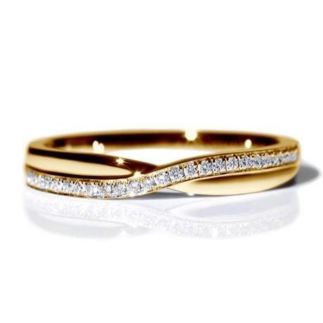Fede Nuziale Golden River - Oro Giallo e Diamanti