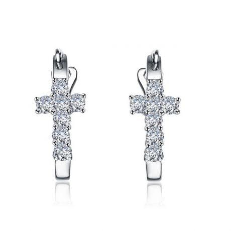 Orecchini Monachella religiosi. Croci diamantate in oro bianco