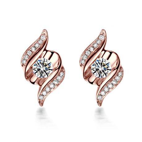 Boucles d'oreilles pendantes. Or rose Diamants. Carat personnalisable
