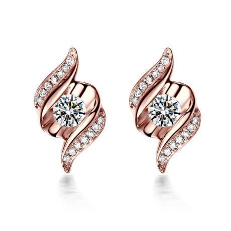 Orecchini A Lobo Maria - Oro Rosa & Diamanti