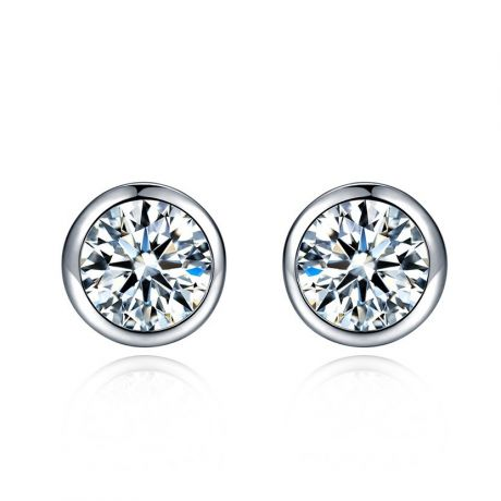 Puces diamants serties clos 0.40ct. Platine. Carat personnalisable