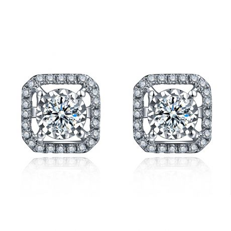 Boucles Oreilles carrées diamants 0.40ct. Or blanc