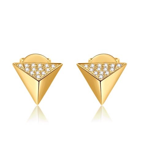 Boucles oreilles clous forme pyramidale. Or jaune, diamants