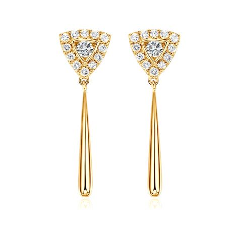 Boucles d'oreilles diamants Or jaune pendantes forme goutte