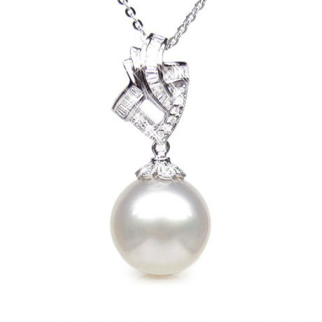 Création de pendentif - Perle d'Australie - Or blanc, diamants
