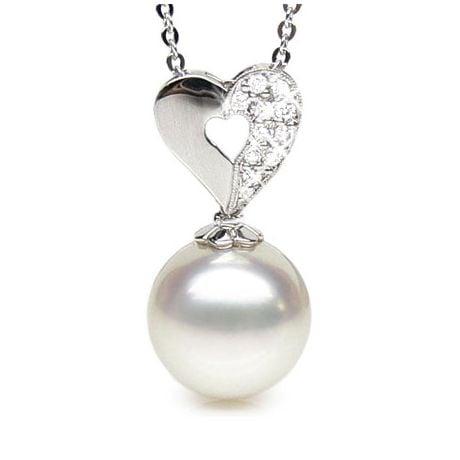Ciondolo cuore oro bianco - Perla d'Australia bianca - 11/12mm