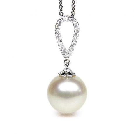 Pendentif goutte diamantée - Perle d'Australie blanche - Or blanc