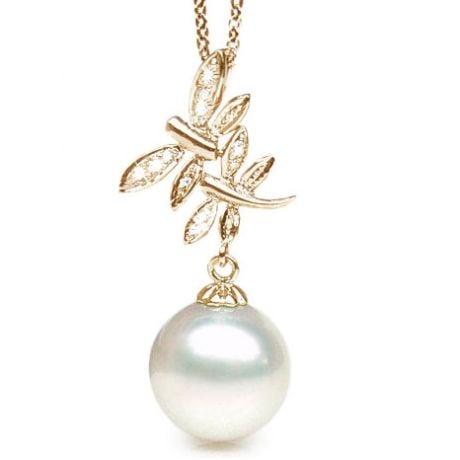 Pendentif libellules - Perle d'Australie blanche - Or jaune, diamants