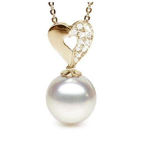 Pendentif coeur diamant - Perle d'Australie - Or jaune