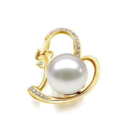 Pendentif perle d'Australie or jaune et diamant - Coeur de trèfle