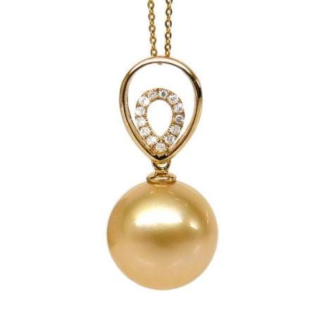 Ciondolo Narciso - Perla dei Mari del Sud Dorata - Oro Giallo 18kt & Diamanti