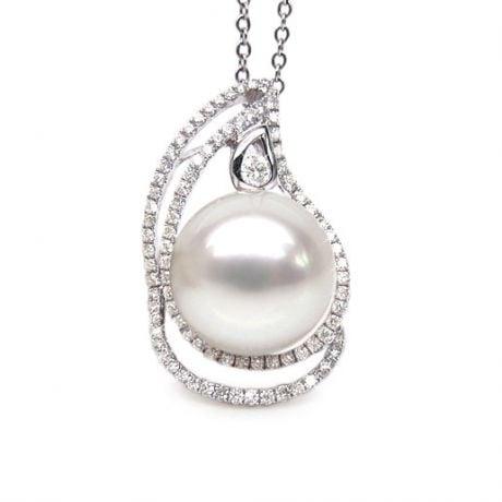 Ciondolo goccia oro bianco, diamanti - Perla d'Australia bianca - 10/11mm
