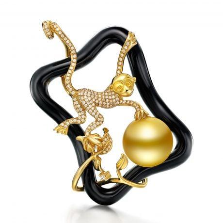 Pendentif Singe - Perle Australie dorée, Agate - Kingdom of Animals