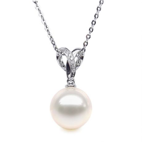 Pendentif bélière entrelacée or blanc - Perle de Chine blanche