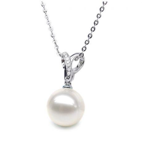 Ciondolo Jardin Secret - Oro Bianco, Diamanti e Perla d'Acqua Dolce