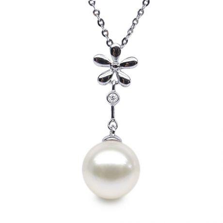 Ciondolo Fleur Céleste - Oro Bianco, Perla d'Acqua Dolce e Diamante