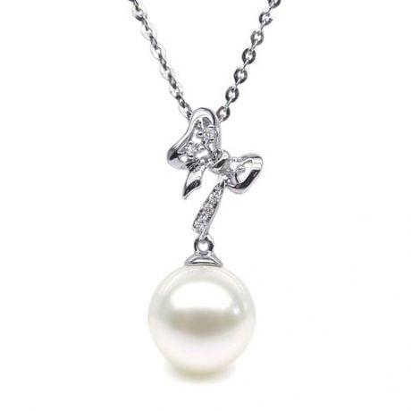 Ciondolo Fiocco - Oro Bianco, Diamanti e Perla di Fiume