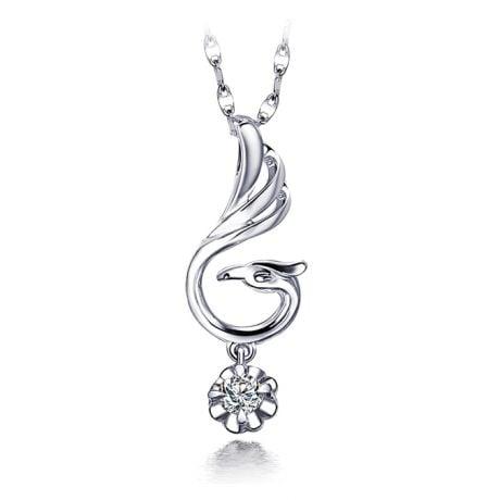 Ciondolo cigno bianco - Diamante solitario