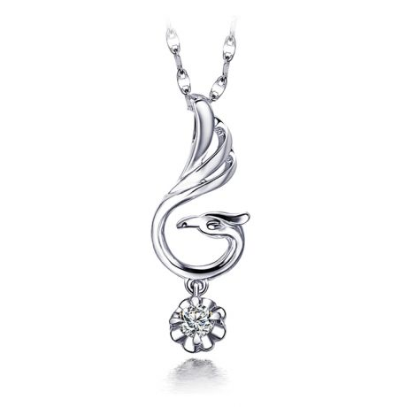 Pendentif cygne blanc - Solitaire diamant