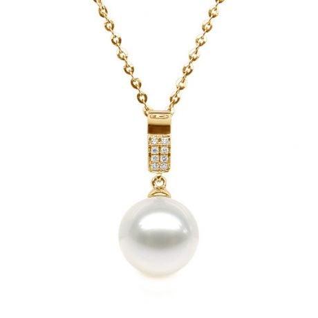 Ciondolo Xilo - Oro Giallo, Perla d'Acqua Dolce e Diamanti