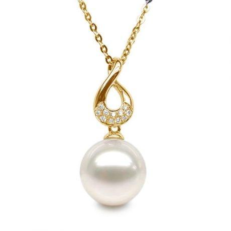 Pendentif twist en or jaune - Diamants sertis et perle blanche
