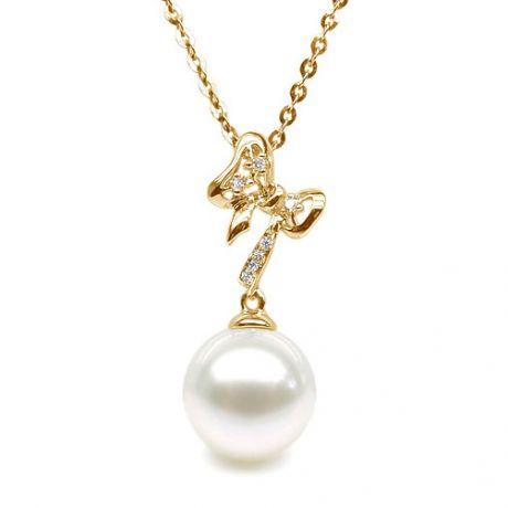 Pendentif noeud papillon or jaune - Perle eau douce blanche, diamant