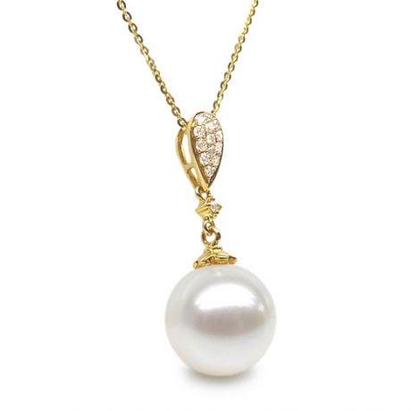 Pendentif goutte diamantée - Perle d'eau douce Chine - Or jaune