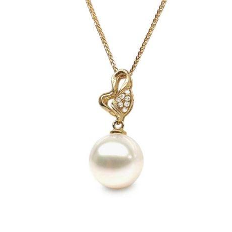 Pendentif petite pousse de printemps - Perle, or jaune et diamants
