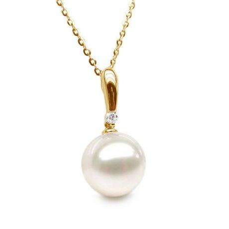 Ciondolo Hainan - Oro Giallo, Perla d'Acqua Dolce e Diamante