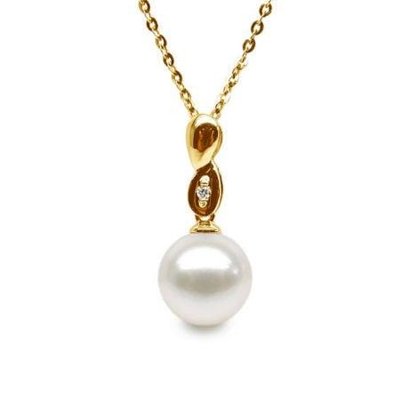 Pendentif entortillé en perle blanche - Or jaune 18cts, diamant