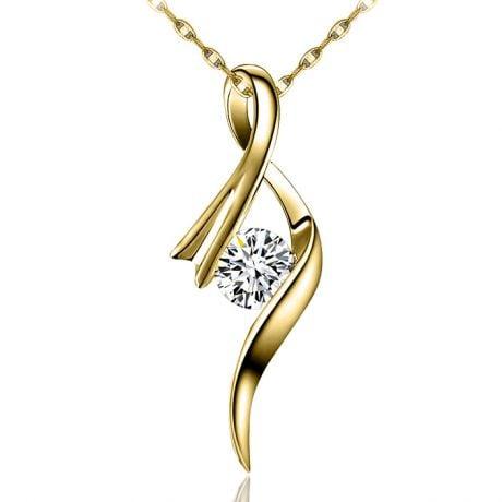 Pendentif byzantin - Ruban torsadé - Or jaune, diamant 0.20ct
