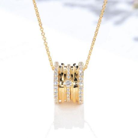 Ciondolo cuore - Nastro in oro giallo - Diamante solitario