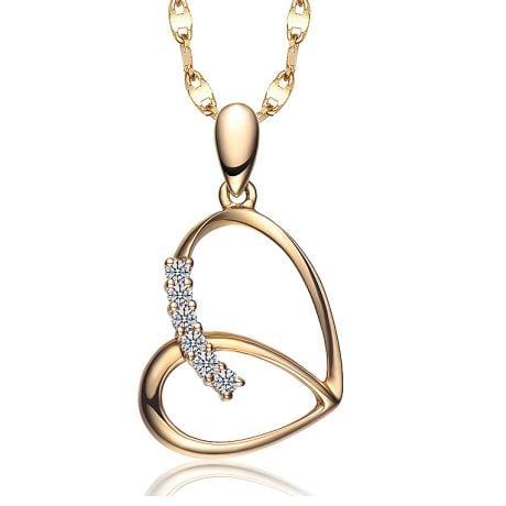 Pendentif coeur gracieux papillon - Or jaune, diamants