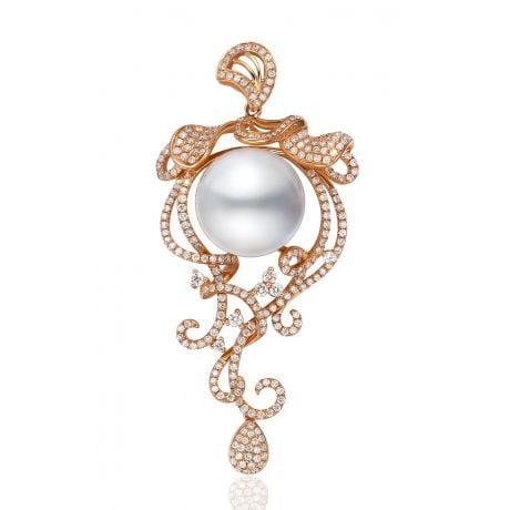 Pendentif de luxe - Les lianes arborescentes - Perle Australie blanche