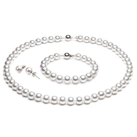 Parure de bijoux en perles Akoya du Japon - Or blanc 14 et 18 carats