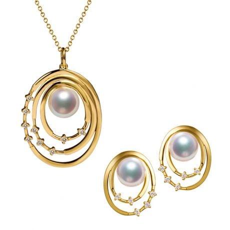 Parure Kaneo. Oro Giallo, Perle Akoya e Diamanti