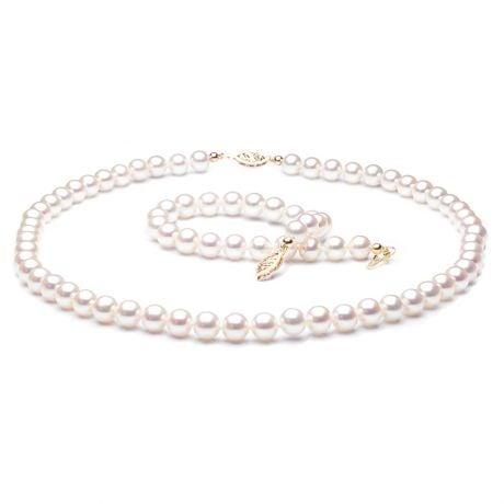 Parure Perle Bianche Immortale - Collana e Braccialetto 6.5/7mm - Oro Giallo