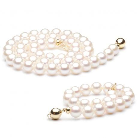 Parure Perle Bianche Colpo di Fulmine - Collana e Braccialetto - Oro Giallo