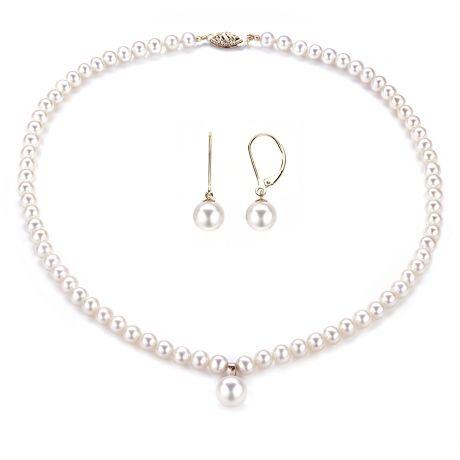 Parure Perle Bianche Vincolo - Collana e Orecchini - Oro Giallo