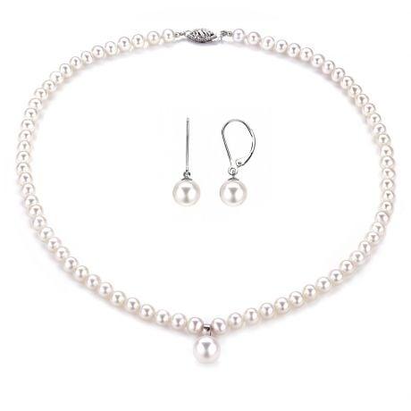 Parure Perle Bianche Vincolo - Collana e Orecchini - Oro Bianco