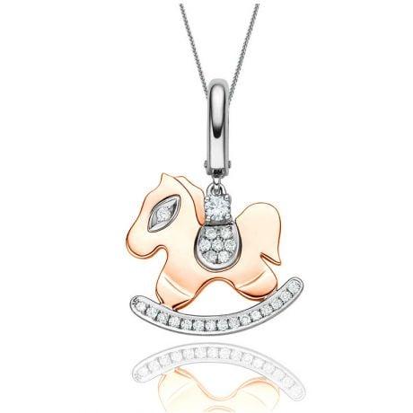 Ciondolo - Due ori 2.44gr - Diamanti 0.145ct