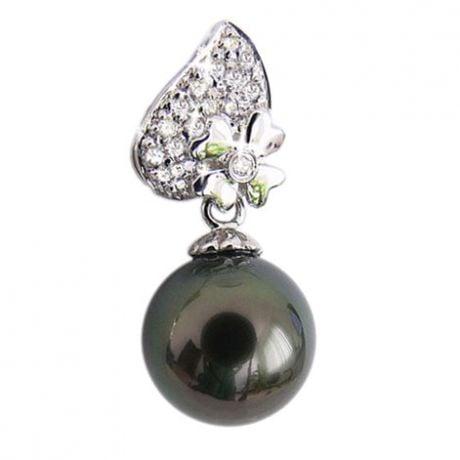 Pendentif fleur d'églantine - Perle de Tahiti - Or blanc, diamants