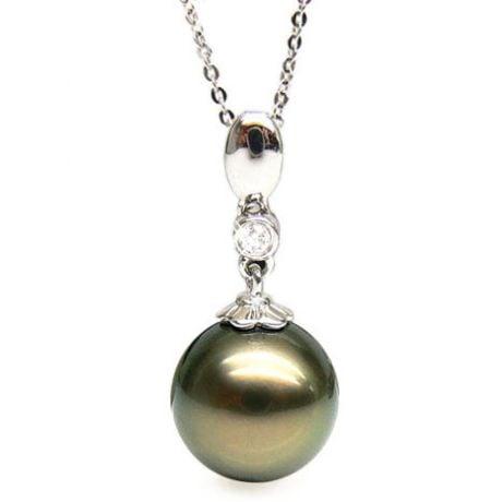 Pendentif Hydra - Perle de Tahiti bronze - Or blanc, diamant serti clos