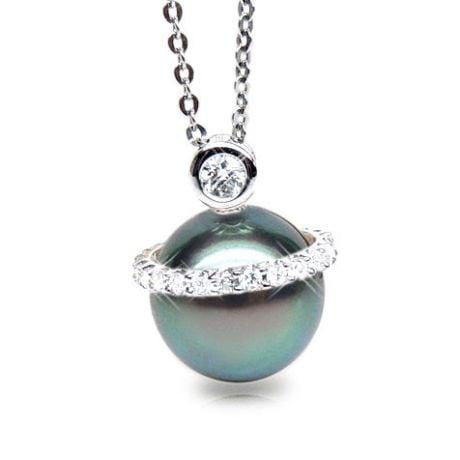Ciondolo Maldives - Oro Bianco, Diamanti e Perla di Tahiti