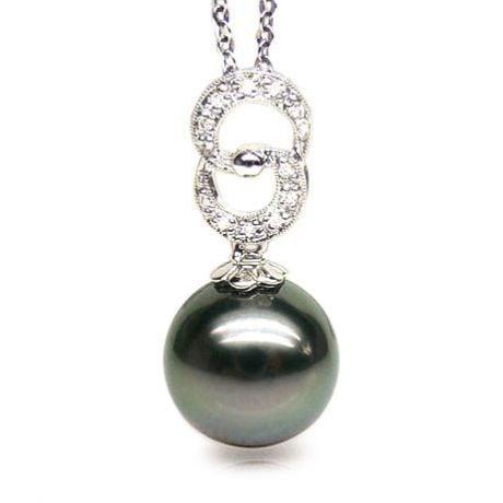 Ciondolo Anelli Baka - Oro Bianco, Diamanti e Perla Tahiti
