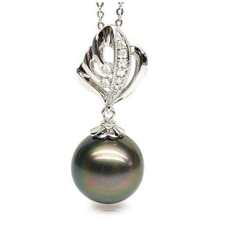 Pendentif création végétale - Perle de Tahiti - Or blanc, diamants