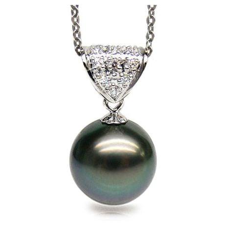 Pendentif Santorin - Perle de Tahiti paon bleue - Or blanc, diamants