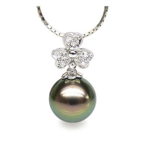 Pendentif fleur de bach - Perle de Tahiti - Or blanc, diamants