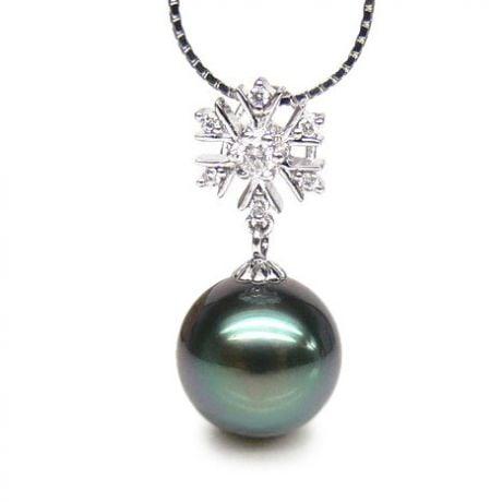 Pendentif flocon de neige - Perle de Tahiti bleue - Or blanc, diamants